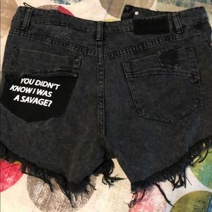 High Rise Jean shorts with slits